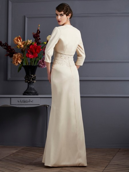 Sheath/Column Square Sleeveless Floor-Length Champagne Mother of the Bride Dresses