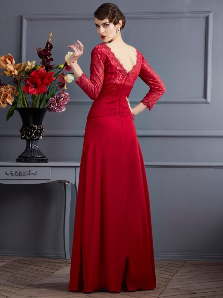 Sheath/Column V-neck 3/4 Sleeves Floor-Length Red Dresses