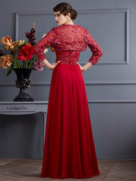 A-Line/Princess Sweetheart Sleeveless Floor-Length Red Mother of the Bride Dresses
