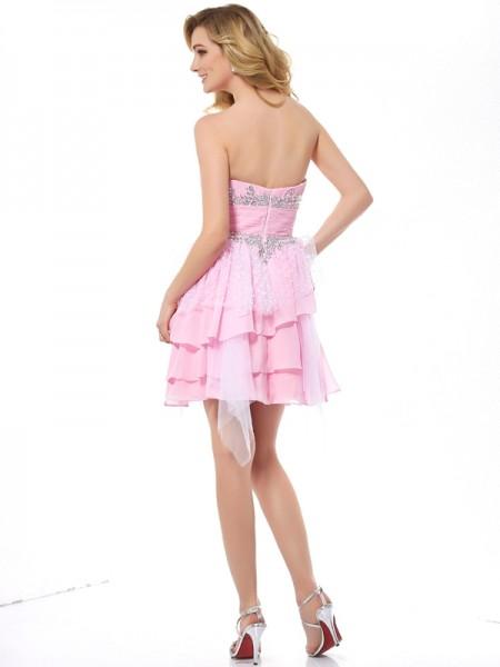 A-Line/Princess Sweetheart Sleeveless Short/Mini Pink Dresses