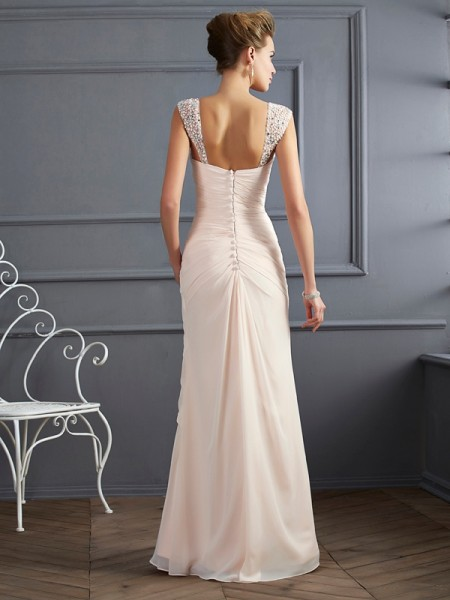 Sheath/Column Straps Sleeveless Floor-Length Champagne Dresses
