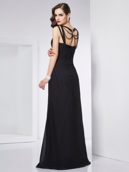 Sheath/Column V-neck Sleeveless Floor-Length Black Dresses