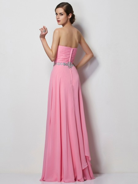 A-Line/Princess Sweetheart Sleeveless Floor-Length Pink Dresses