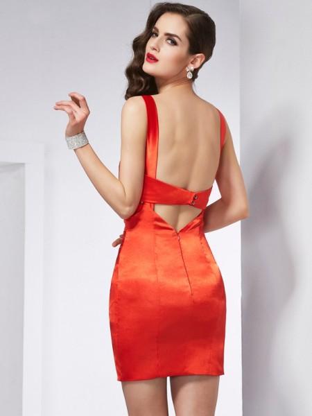 Sheath/Column V-neck Sleeveless Short/Mini Red Dresses