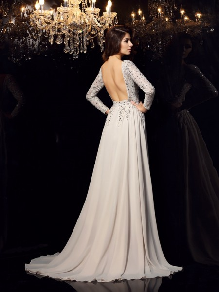 A-Line/Princess Long Sleeves Beading Court Train Scoop Chiffon Dresses