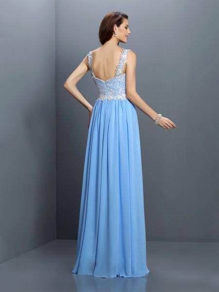 A-Line/Princess Sleeveless Lace Floor-Length V-neck Straps Chiffon Bridesmaid Dresses