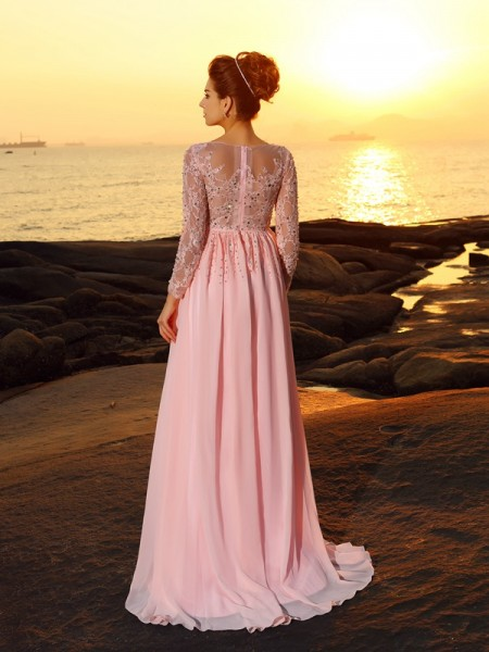 A-Line/Princess Long Sleeves Beading Sweep/Brush Train Bateau Chiffon Dresses