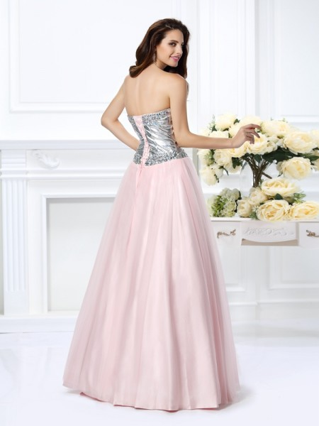 Ball Gown Sleeveless Beading Floor-Length Sweetheart Satin Dresses