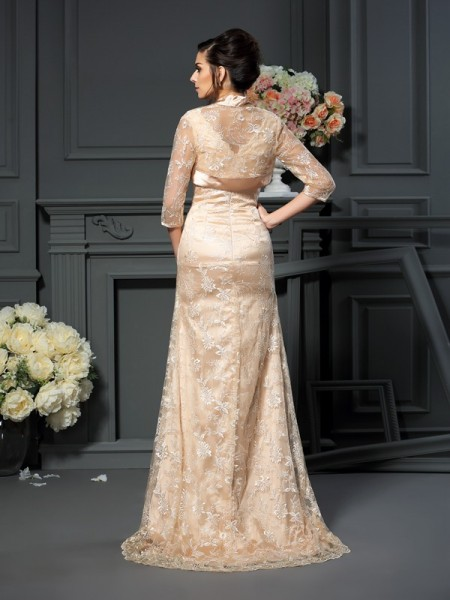 A-Line/Princess Sleeveless Lace Floor-Length V-neck Elastic Woven Satin Mother of the Bride Dresses