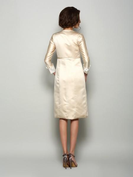 Sheath/Column Short Sleeves Applique Knee-Length Square Satin Mother of the Bride Dresses