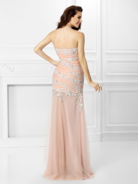 Trumpet/Mermaid Sleeveless Applique Lace Floor-Length Sweetheart Chiffon Dresses