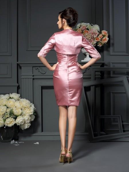 Sheath/Column Sleeveless Applique Short/Mini Scoop Elastic Woven Satin Mother of the Bride Dresses