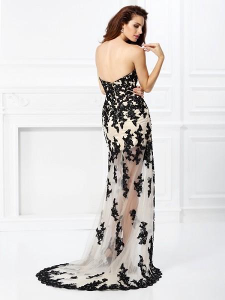 A-Line/Princess Sleeveless Lace Asymmetrical Sweetheart Elastic Woven Satin Dresses