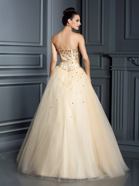 Ball Gown Sleeveless Beading Floor-Length Sweetheart Satin Dresses