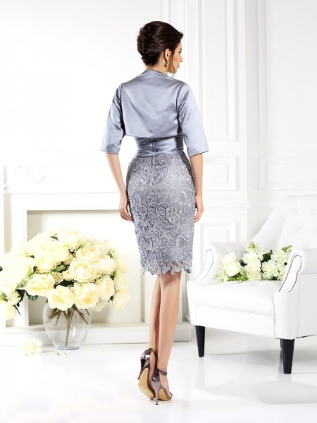 Sheath/Column Sleeveless Lace Knee-Length Sweetheart Satin Mother of the Bride Dresses
