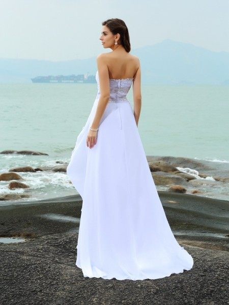 A-Line/Princess Sleeveless Beading Sweep/Brush Train Sweetheart Chiffon Wedding Dresses