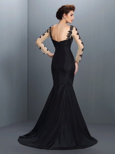 Trumpet/Mermaid Long Sleeves Applique Sweep/Brush Train Bateau Taffeta Dresses