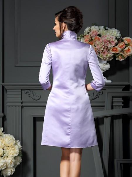 Sheath/Column Sleeveless Bowknot Short/Mini Scoop Satin Mother of the Bride Dresses