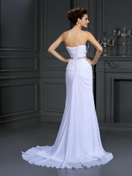 Sheath/Column Sleeveless Beading Chapel Train Sweetheart Chiffon Wedding Dresses