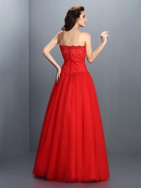 Ball Gown Sleeveless Beading Floor-Length Strapless Organza Dresses