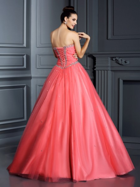 Ball Gown Sleeveless Beading Floor-Length Sweetheart Net Dresses