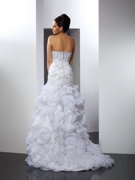 Trumpet/Mermaid Sleeveless Beading Chapel Train Sweetheart Organza Wedding Dresses