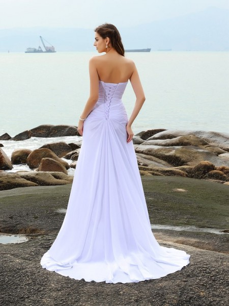 Sheath/Column Sleeveless Beading Chapel Train Sweetheart Chiffon Wedding Dresses