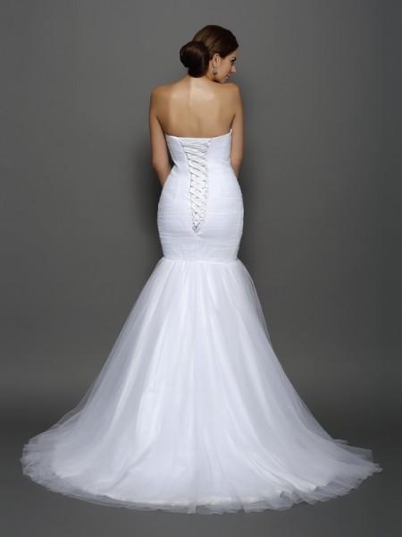 Trumpet/Mermaid Sleeveless Pleats Court Train Sweetheart Net Wedding Dresses