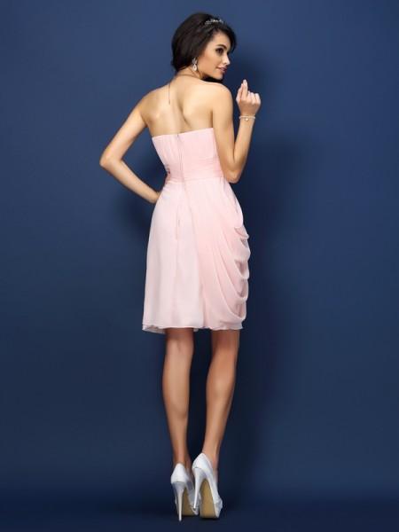 Sheath/Column Sleeveless Pleats Short/Mini Sweetheart Chiffon Bridesmaid Dresses