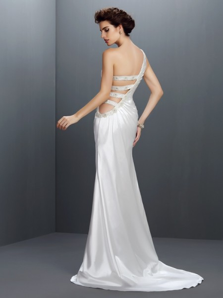 Trumpet/Mermaid Sleeveless Beading Sweep/Brush Train One-Shoulder Elastic Woven Satin Dresses