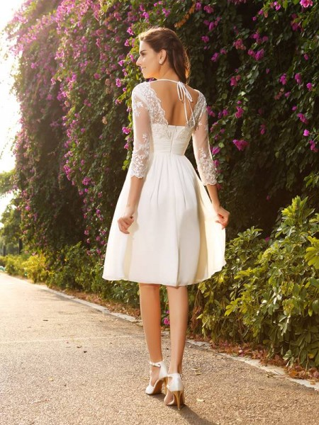 A-Line/Princess 3/4 Sleeves Knee-Length V-neck Chiffon Wedding Dresses