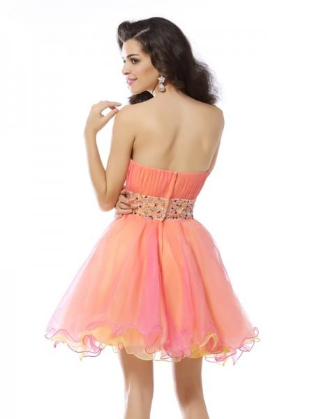 A-Line/Princess Sleeveless Beading Short/Mini Strapless Organza Cocktail Dresses