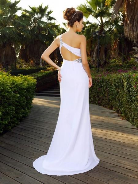 A-Line/Princess Sleeveless Beading Court Train One-Shoulder Chiffon Wedding Dresses