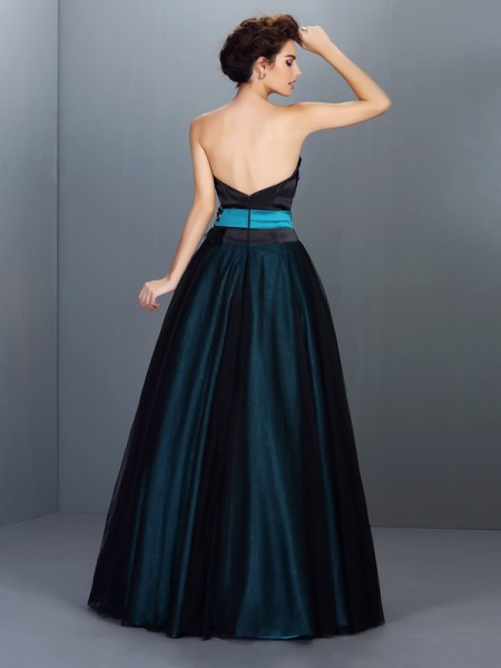 Ball Gown Sleeveless Feathers/Fur Floor-Length Strapless Elastic Woven Satin Dresses