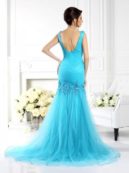 Trumpet/Mermaid Sleeveless Applique Sweep/Brush Train Straps Silk like Satin Dresses