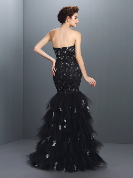 Trumpet/Mermaid Sleeveless Paillette Floor-Length Sweetheart Net Dresses