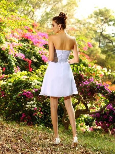 A-Line/Princess Sleeveless Bowknot Short/Mini Sweetheart Chiffon Bridesmaid Dresses