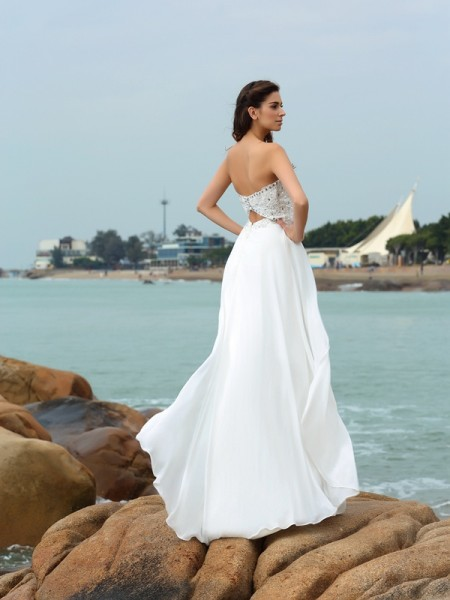 A-Line/Princess Sleeveless Beading Floor-Length Sweetheart Chiffon Wedding Dresses