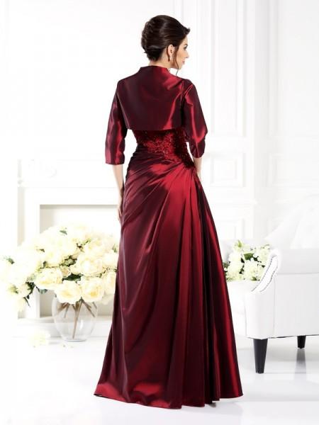 A-Line/Princess 1/2 Sleeves Applique Floor-Length Strapless Taffeta Mother of the Bride Dresses