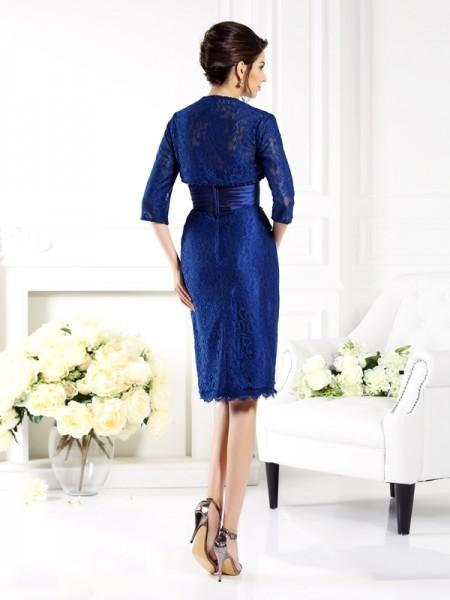 Sheath/Column Sleeveless Beading Knee-Length Strapless Taffeta Mother of the Bride Dresses