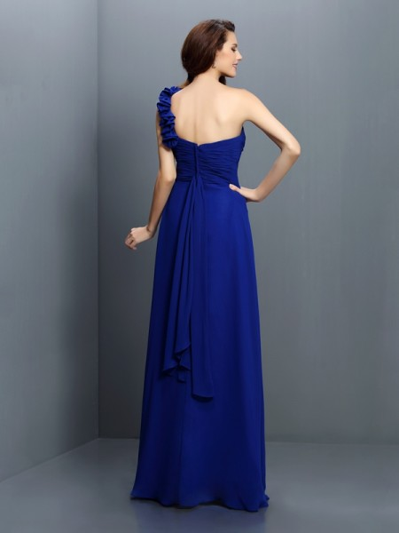 A-Line/Princess Sleeveless Hand-Made Flower Floor-Length One-Shoulder Chiffon Bridesmaid Dresses
