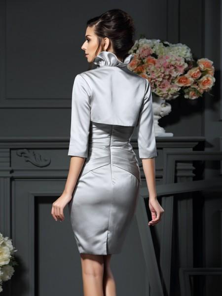 Sheath/Column Sleeveless Beading Short/Mini Sweetheart Satin Mother of the Bride Dresses