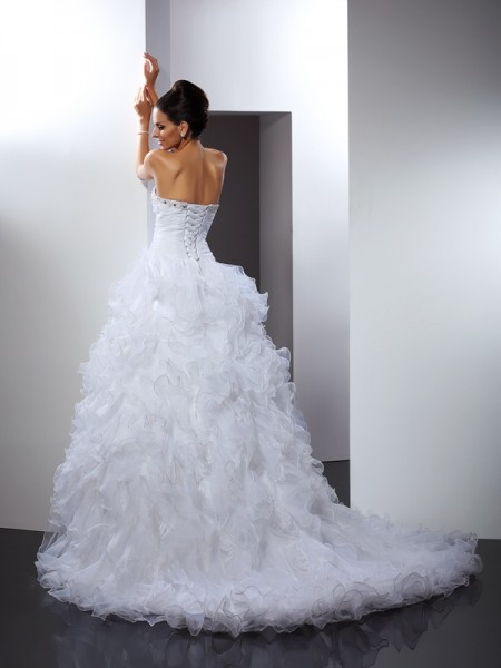 Ball Gown Sleeveless Beading Cathedral Train Sweetheart Organza Wedding Dresses