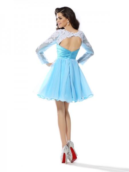 A-Line/Princess Long Sleeves Applique Short/Mini Scoop Elastic Woven Satin Cocktail Dresses