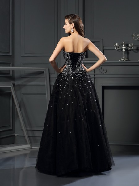 Ball Gown Sleeveless Beading Floor-Length Strapless Satin Dresses