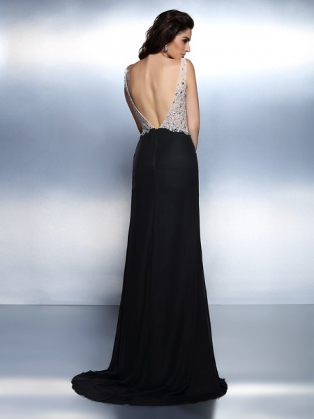 Trumpet/Mermaid Sleeveless Beading Sweep/Brush Train V-neck Chiffon Dresses