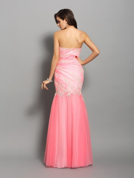 Trumpet/Mermaid Sleeveless Beading Applique Floor-length Sweetheart Elastic Woven Satin Dresses