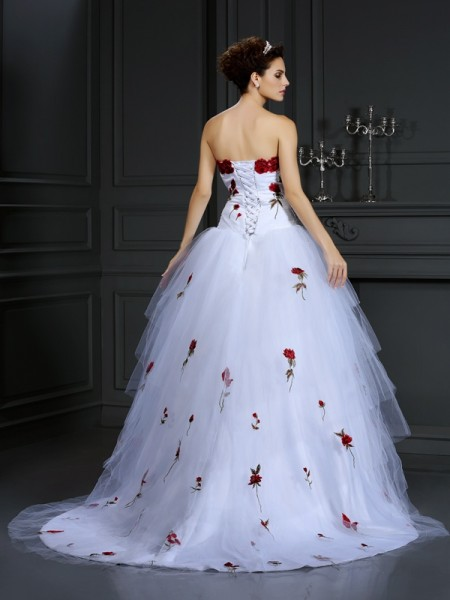 Ball Gown Sleeveless Hand-Made Flower Court Train Strapless Satin Wedding Dresses