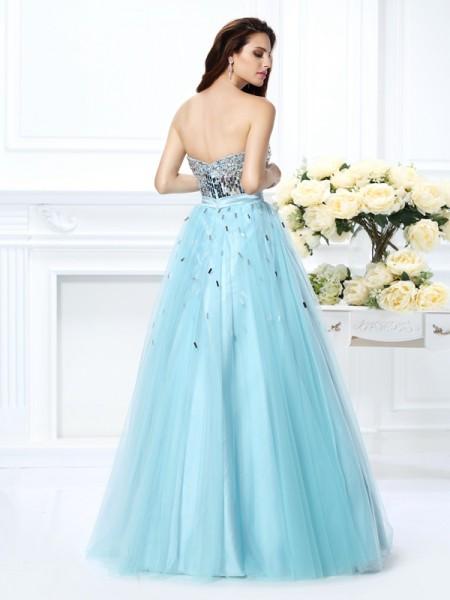 Ball Gown Sleeveless Beading Paillette Floor-Length Sweetheart Satin Dresses