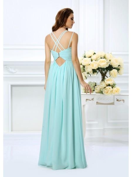 A-Line/Princess Sleeveless Pleats Floor-Length Spaghetti Straps Chiffon Dresses